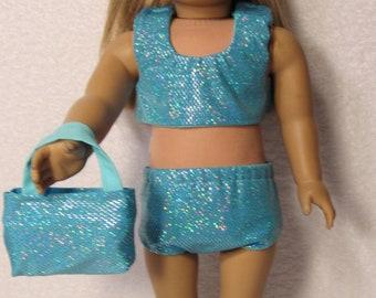 18 Inch Doll Aqua Glitter 2 Piece Swimsuit Fits American Girl Doll