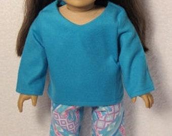 18 Inch Doll Aqua Flannel  Pajamas  Fits American Girl Doll