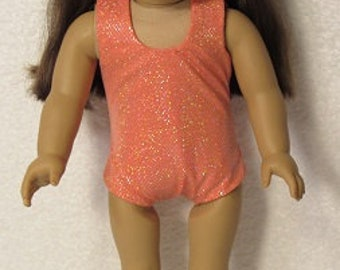 18 Inch Doll Peach One Piece Swimsuit or Leotard Fits American Girl Doll