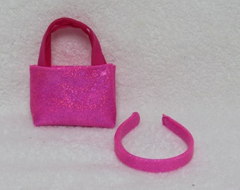 18 Inch Hot Pink Glitter Tote Bag and Matching Headband Fits American Girl Doll