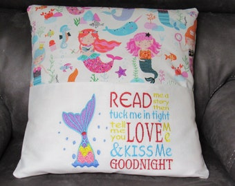 Embroidered Book Pillow Cover With Mermaid and Read Me a Story Saying Fits 18 X 18 Inch Pillow