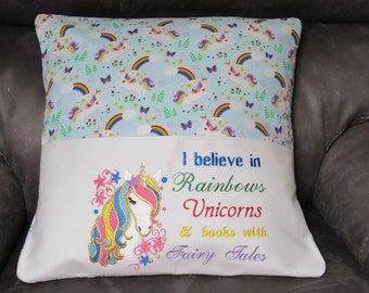 Embroidered Pillow Book Cover Unicorn with Saying Fits 18 X18 Pillow