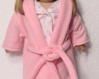 18 Inch Doll Pink Fleece Robe Fits American Girl Doll