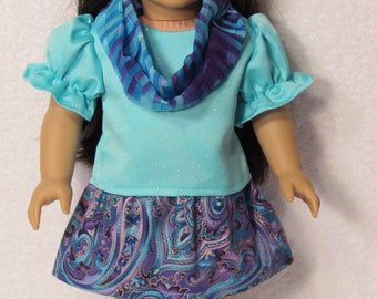 18 Inch Doll Satin Top with Cotton Print Skirt and Matching Infinity Scarf Fits American Girl Doll