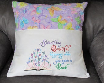 Embroidered Reading Pillow Cover With Butterflies Made to fit a 18 X 18 Inch Pillow