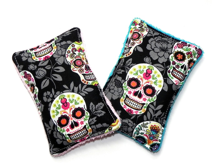 Set of 2 Kitchen Shower or Bath reusable and washable eco friendly sponges Unsponges Day of the Dead skulls