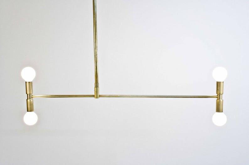 Meridian Brass chandelier Bauhaus Modern Mid Century Asymmetric