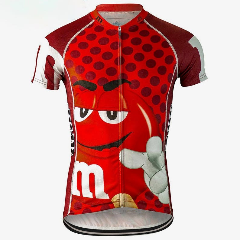 M M Red Candy Cycling Jersey Cartoon Unisex Small Medium  d8aa12179