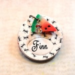 Picnic Ants Dog Pet Tag, Polymer Clay, Handmade