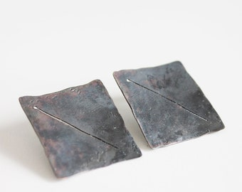 Hammered square sterling silver studs Black silver modernist earrings studs Geometric black silver light jewellery Contemporary jewellery