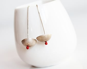 silver earrings, little silver jewelry, everyday earrings, red jewelry, eco friendly jewelry, gift for her, red dot jewelry, red silver