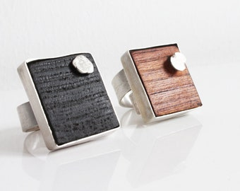 Unique silver adjustable wooden statement ring Modernist geometric sterling silver jewelry Contemporary gift for woman Bold silver band