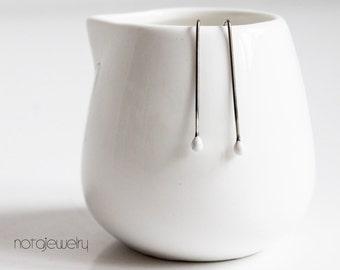 Original white silver drop earrings Minimal sterling silver white dot jewellery Popular modern small white earrings Contemporary jewellery