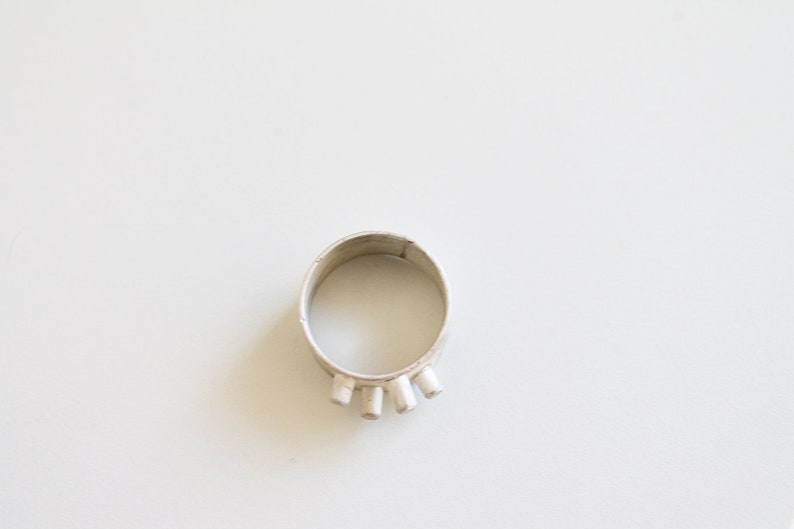 Statement bold ring Contemporary Modern Unisex Ring Wide silver band for Women Organic White silver Jewelry Sculptural Rings