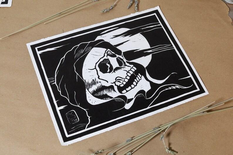 Skull with Shroud Grim Reaper Death card Tarot Hand printed Linoleum block Print 8X10 in Unframed Second