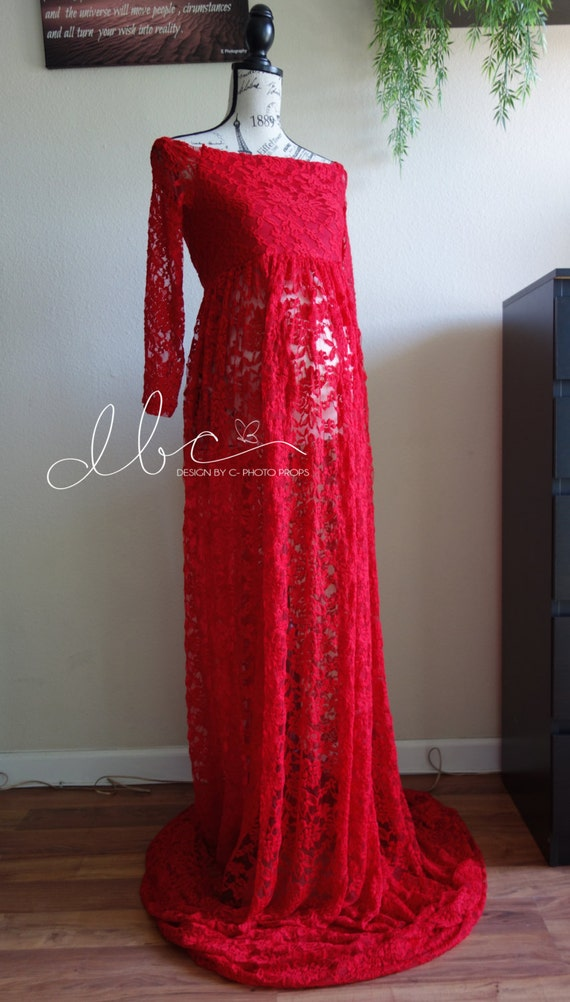 17f079bf7cc Cynthia Red lace maternity gown with lace layered tube top and