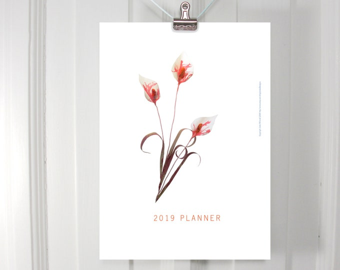 2019 printable planner with paper flowers on monthly pages