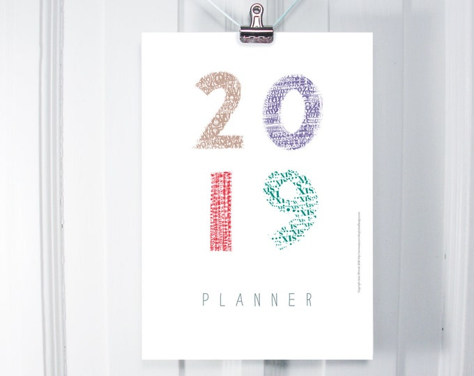 2019 wall planner with initials and monthly pages