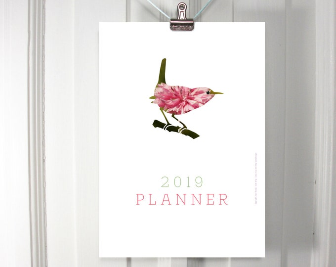 2019 monthly planner with colourful flower birds