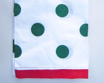 Hand towel, 100% linen, polka dot with contrasting trim, red and green, guest towel, hostess gift