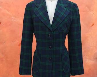 Vintage 1970s Women's Wool Plaid Blazer jacket coat. Hippie boho gypsy. Blue green black