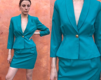 46ef3e96160b Vintage 1990s Women's Miniskirt Suit Set. Skirt + Blazer. Fitted Sexy  Turquoise. xs Size 0 2. Power suit Office wear Jacket Coat