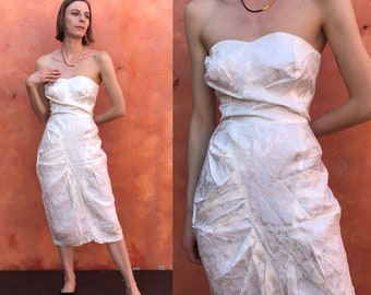 250426a5836ed Gorgeous Vintage 1980s does 1950s white Strapless Dress. 1950s style dress.  Evening Dress. party dress prom dress Medium Size 8 10