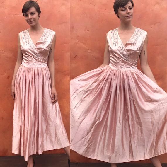 Vintage 1920s 1930s liquid satin beaded blush pink