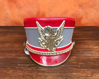 Vintage Marching Band Hat with Chin Strap. Red taupe Gold. American Eagle. Size Medium