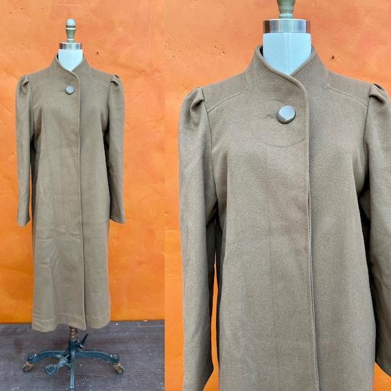 Vintage 1940s Brown Wool Midi Coat. Iconic WWII er