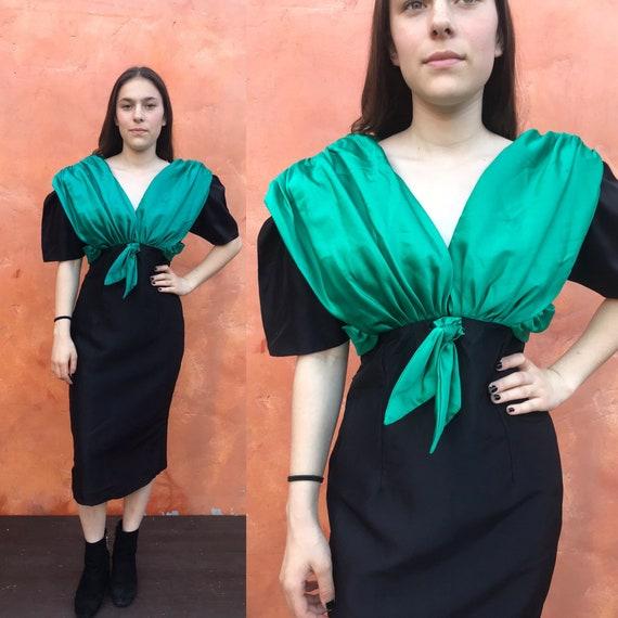 Vintage 1980 Prom Dress. Black Sequined Green Tull