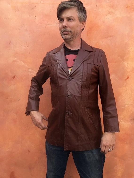 Vintage 1970s Men's Brown Leather Jacket Blazer C… - image 3