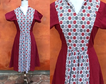 Vintage 1950s Red Gray Atomic Geometric Cotton Rockabilly Day Dress color blocked. 50s day dress