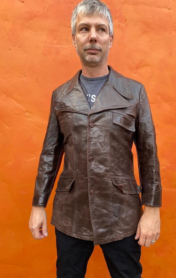 Vintage 1970s Men's Dk Brown Leather Jacket Blaze… - image 3