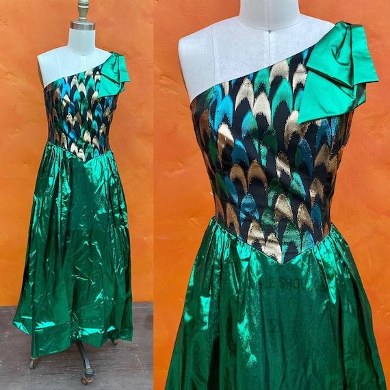 Vintage 1980s Prom Dress. Green metallic. 80s Prom