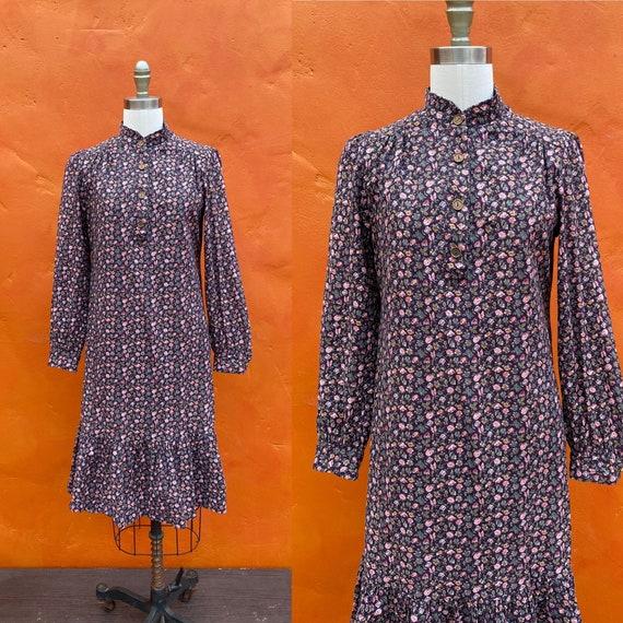 Vintage 1980s cotton floral ruffle hem prairie dre