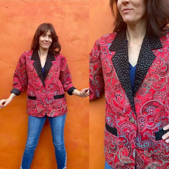 Vintage 1990s Women's Paisley Blazer Jacket Coat.
