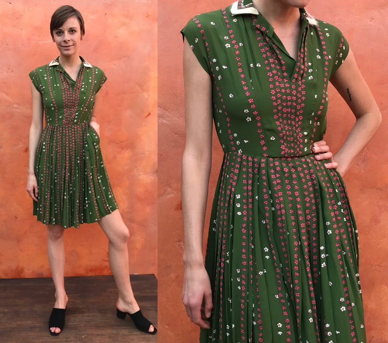 52e9aebdd8c Vintage 1940s 1950s Green Pink Floral Swing Fit Flare pinup
