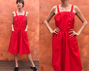 Vintage 1950s style Red Wiggle Sun Dress. White stitching cotton summer dress retro wiggle dress. vintage midi dress 70s does 50s