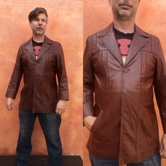 Vintage 1970s Men's Brown Leather Jacket Blazer Co