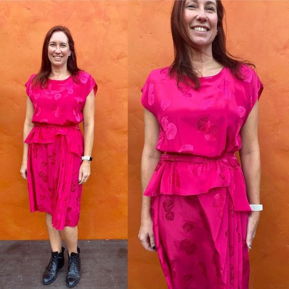Vintage 1980s does 1940s Peplum Dress. 1980s Secre