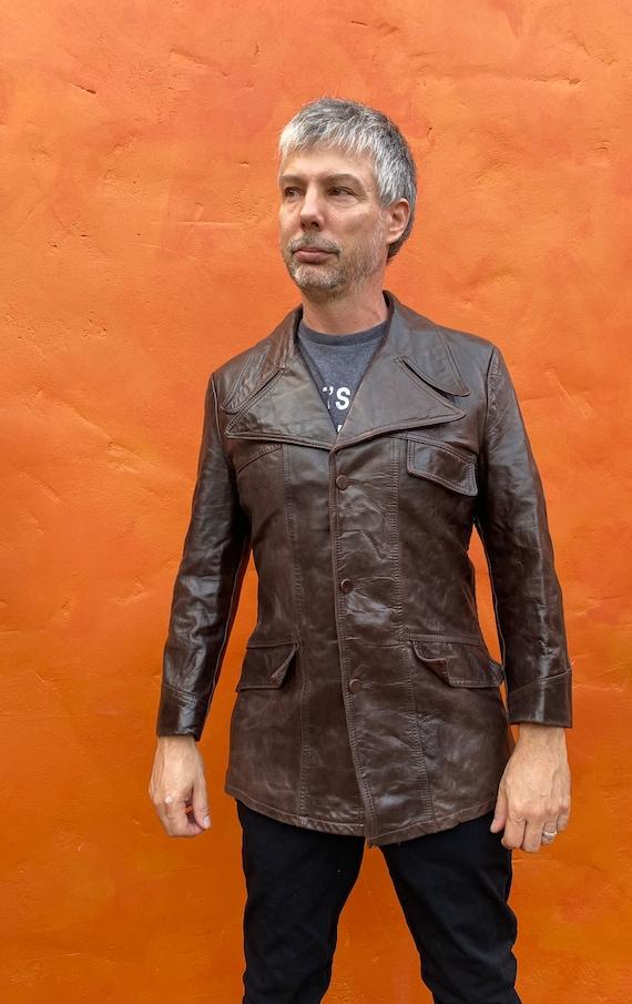Vintage 1970s Men's Dk Brown Leather Jacket Blaze… - image 4
