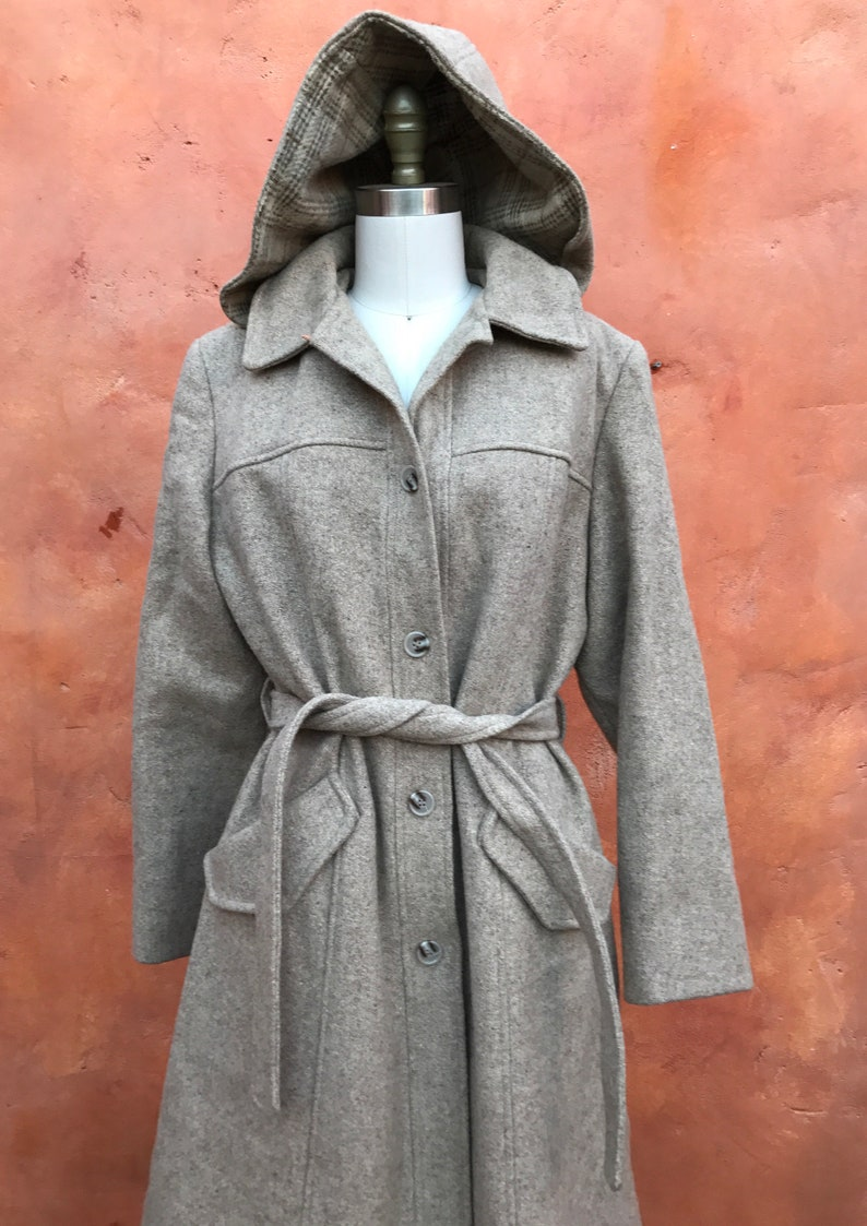 Taupe 70s womens trench winter coat Vintage Women/'s 1970s Long Belted Wool Jacket Coat with Hood Medium Large Size 10 12 14