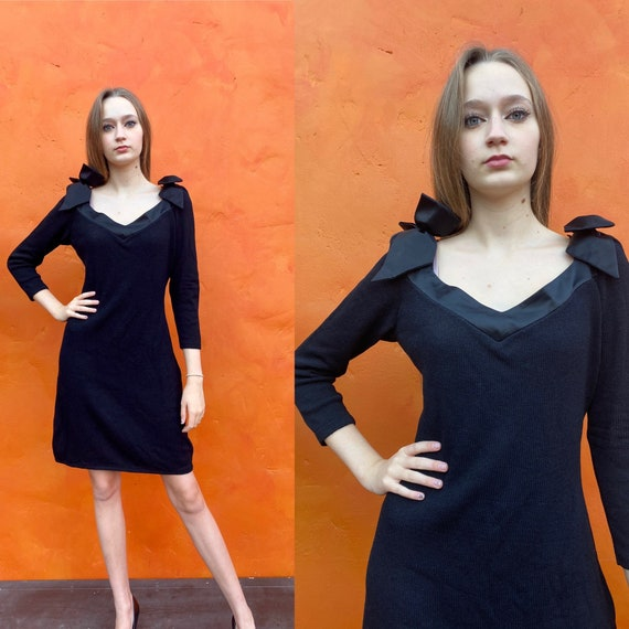 Vintage 1980s does 1950s Black Knit Wiggle Dress B