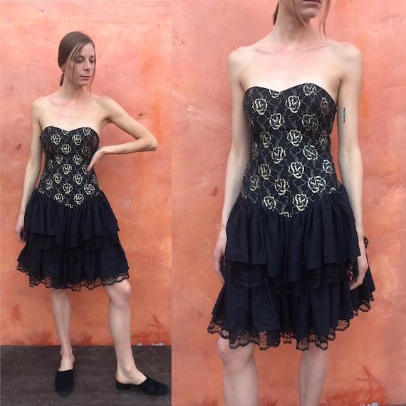 Vintage Women's Black 1980s  Strapless DRESS Prom