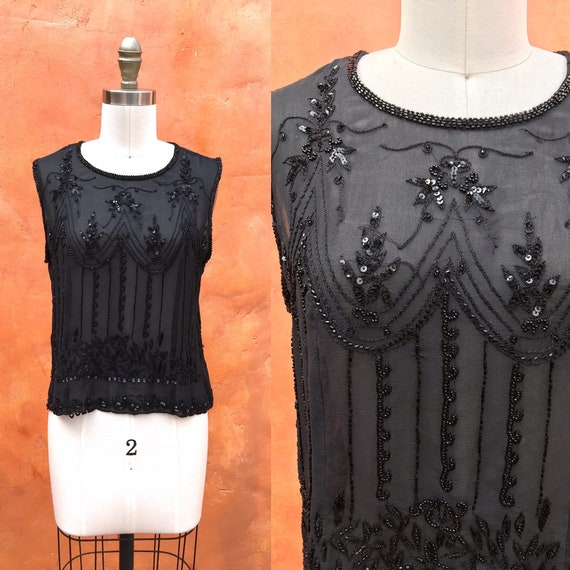 Vintage Y2K Sheer Black Beaded Tank Blouse top xs