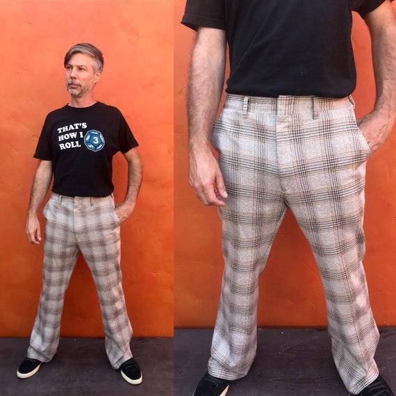Vintage 1970s Men's Brown Tan Plaid Pants. 70s pla