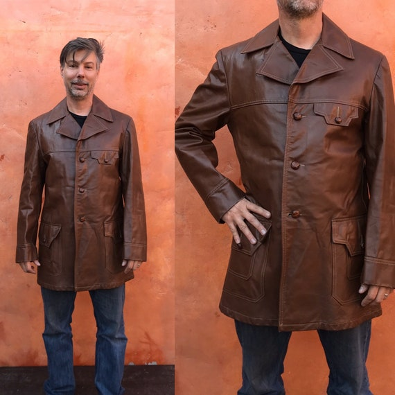 Vintage 1970s Men's Brown Leather Jacket. Vintage