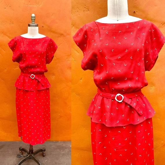 Vintage 1970s does 1940s REd Belted Peplum Dress.