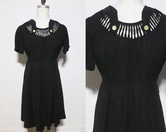 Vintage 1940s WWII Women's Black Rayon Dress. 40s Day dress. Peekabo white satin. Medium Large